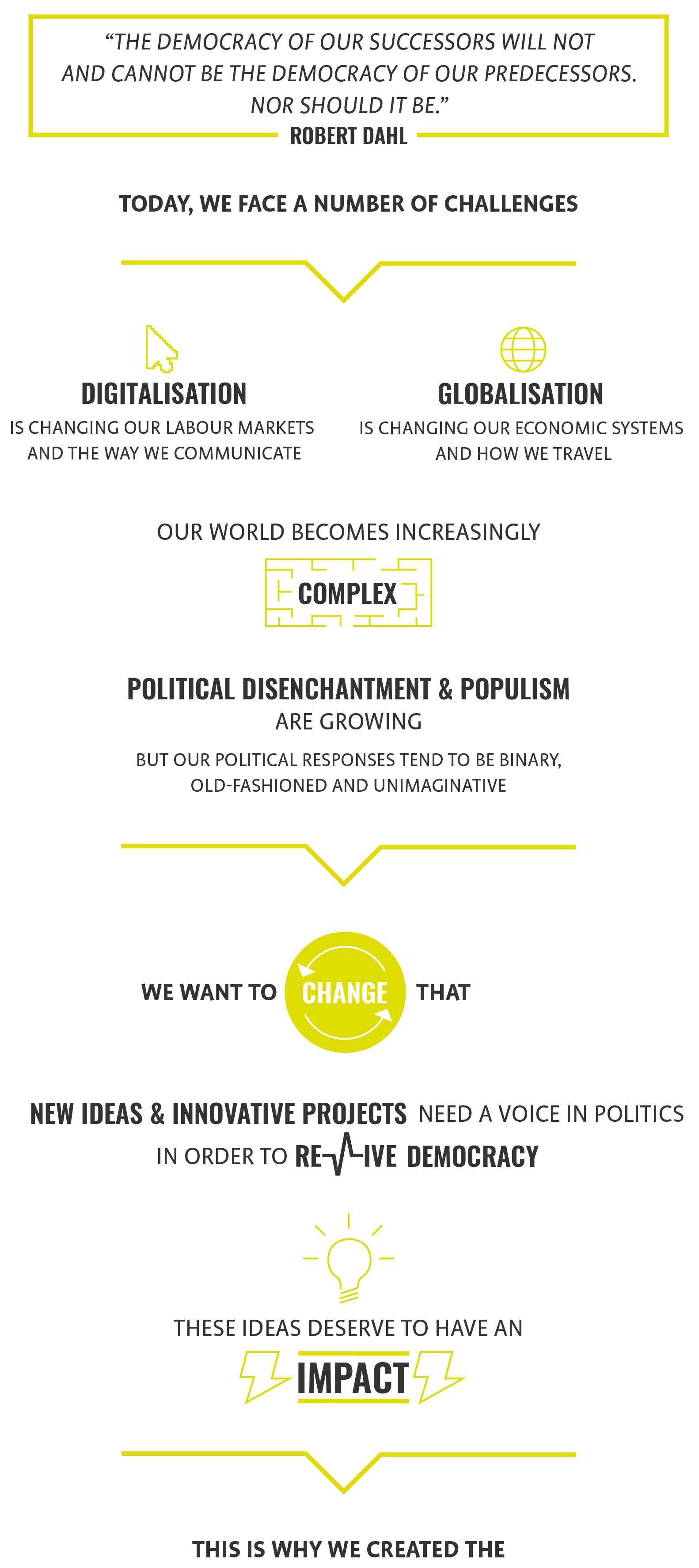 The Democracy Lab is the platform for democratic innovation by the Berlin think tank Das Progressive Zentrum. We develop ideas and projects to help to renew democracy. Please visit our page to access publications on, e.g. structural reforms, digital innovations and representation.