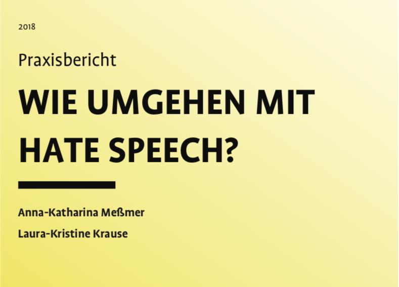 """Cover des Praxisbericht """"Wie umgehen mit Hate Speech"""""""